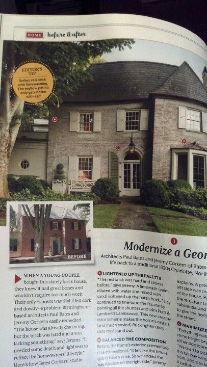 Southern living march 2013. Lime washed brick lambswool and pratt and lambert artichock shutters