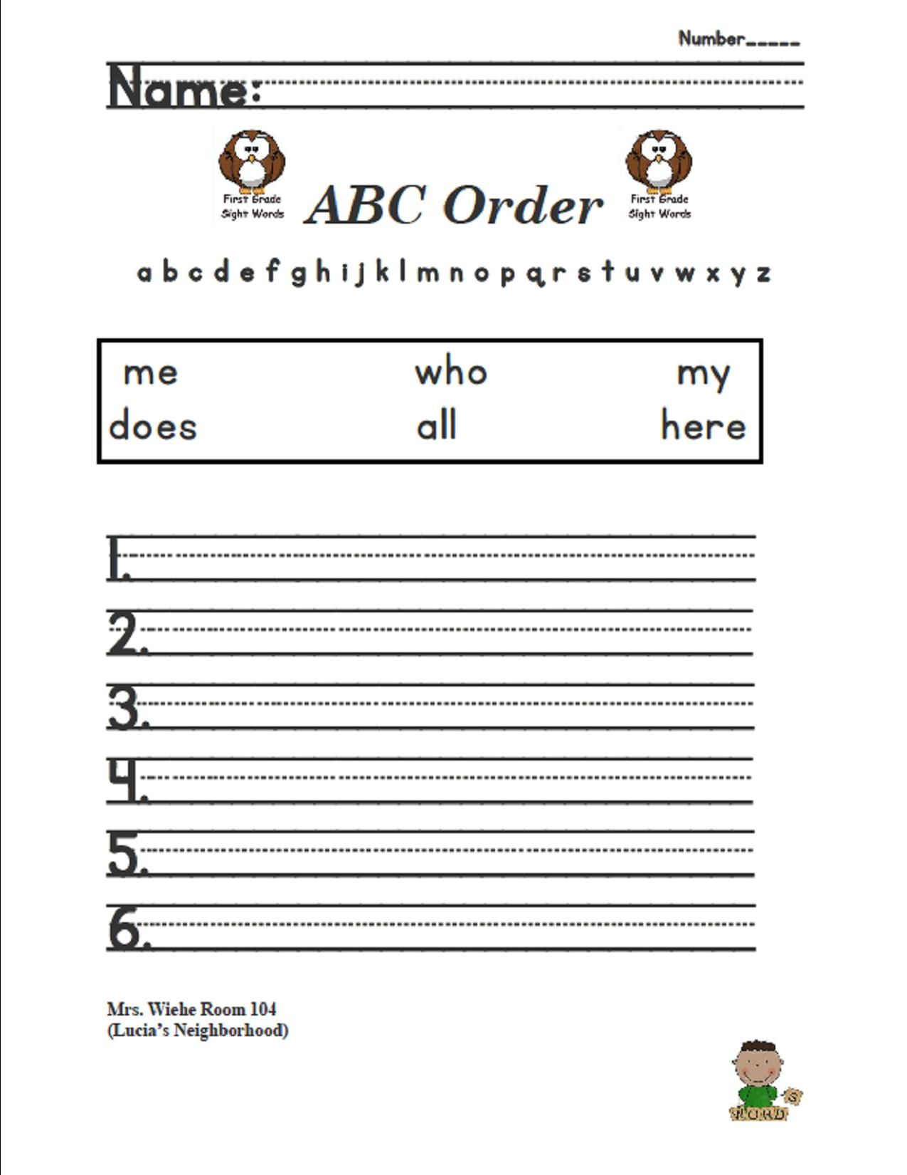 Lesson 4 Lucia S Neighborhood Sight Words Abc Order
