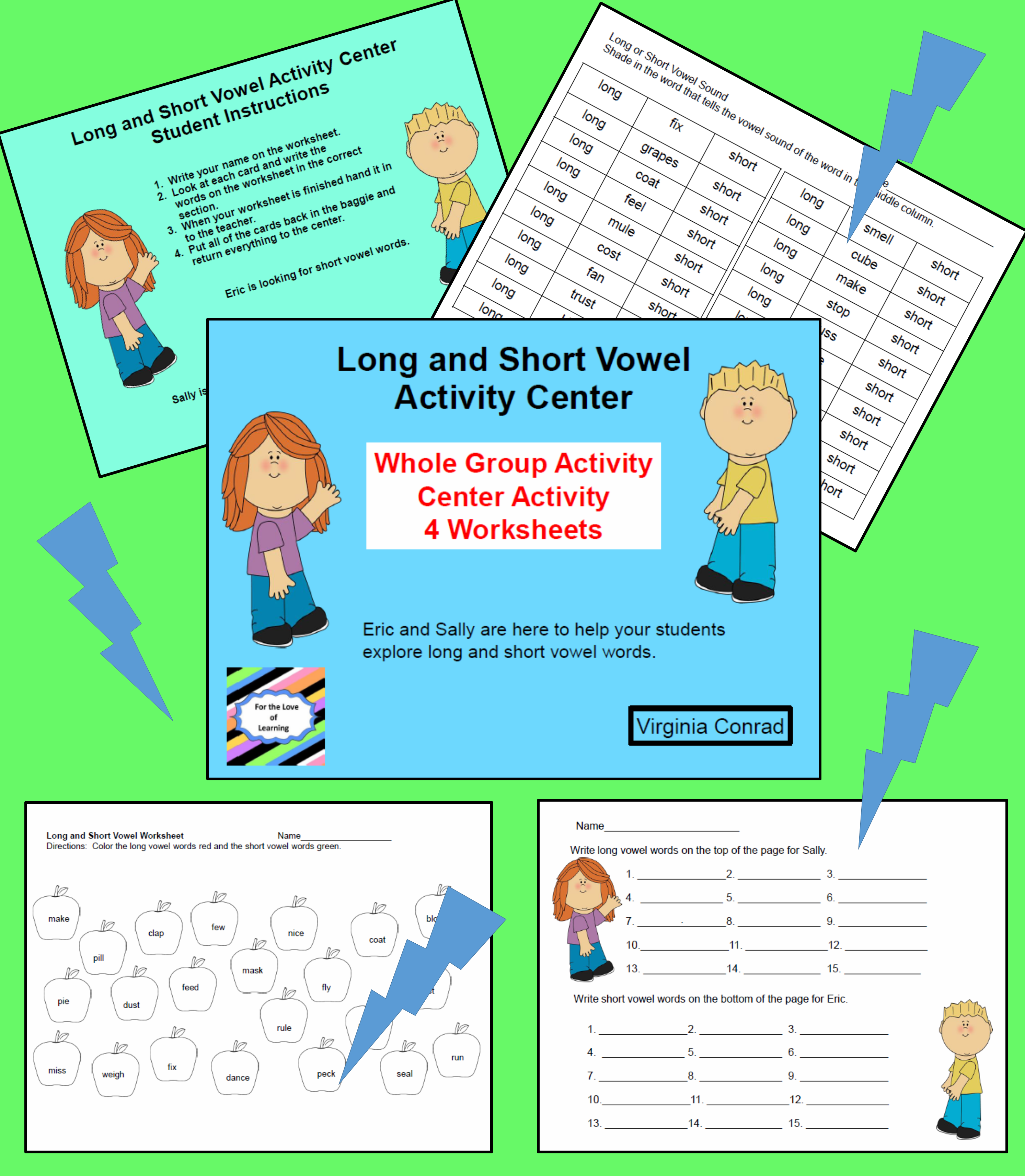 Long And Short Vowel Activities And Worksheets