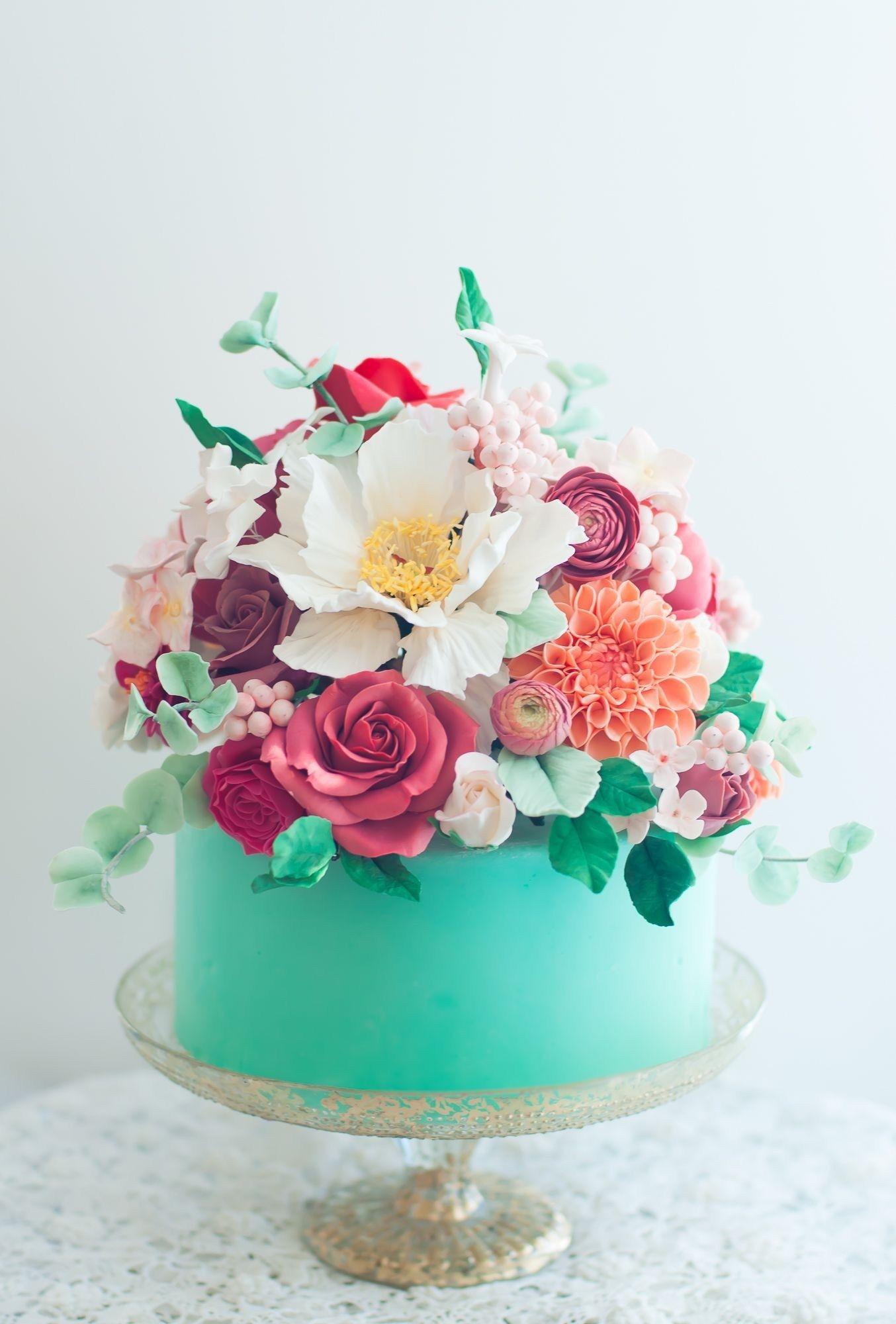 Tremendous Birthday Cakes With Flowers Aqua Floral Cake Lulus Sweet Secrets Funny Birthday Cards Online Alyptdamsfinfo
