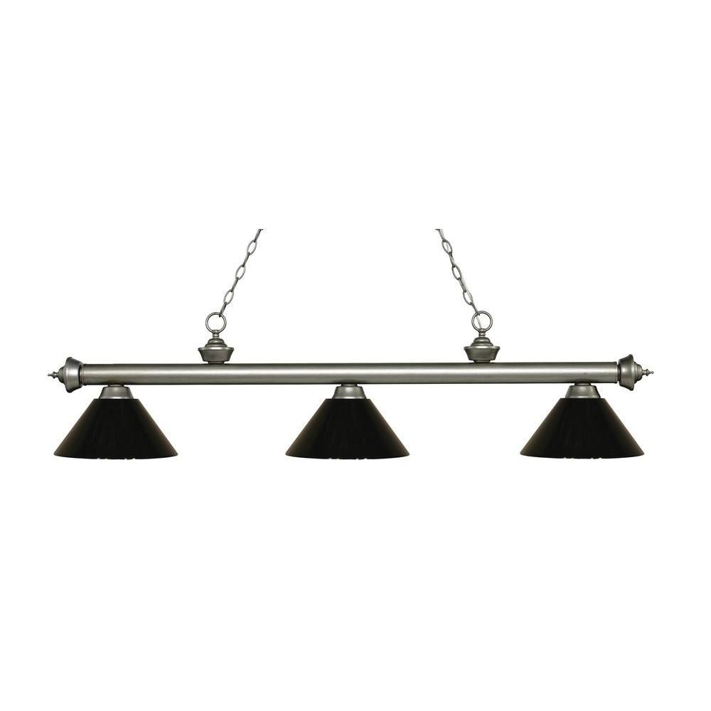 Filament Design Anders 3-Light Antique Silver Island Light with Black Shades