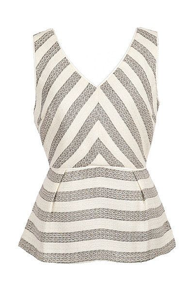 The neckline on this Modern Citizen Striped Metallic Peplum Top ($59) is just begging to be worn with your statement necklaces.