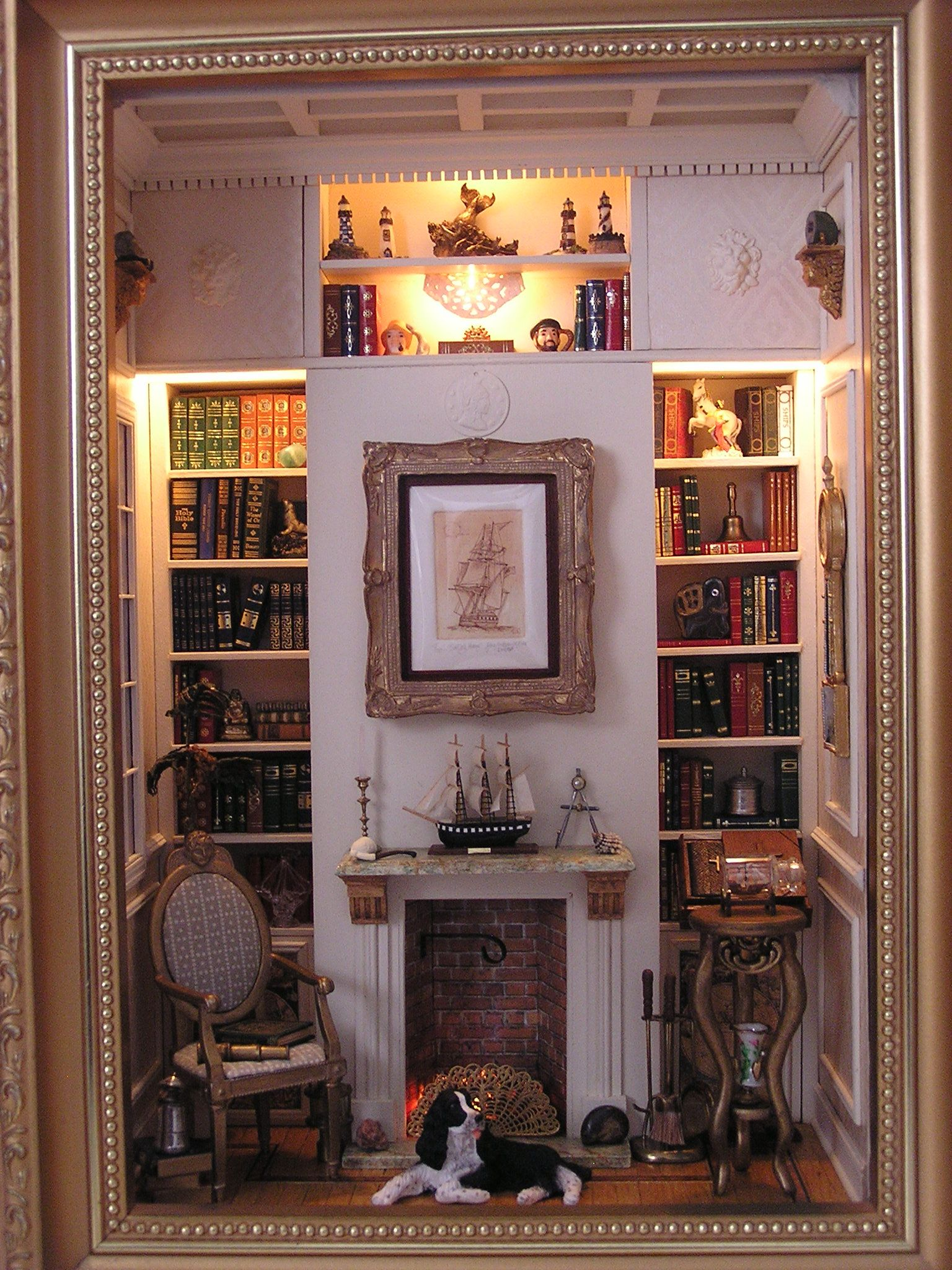 The Captain's Library, club project Miniatures West ~ Notice the coffered ceiling and inlaid floor. This project was designed and taught to our club by miniatures artisan Marilyn Taylor.