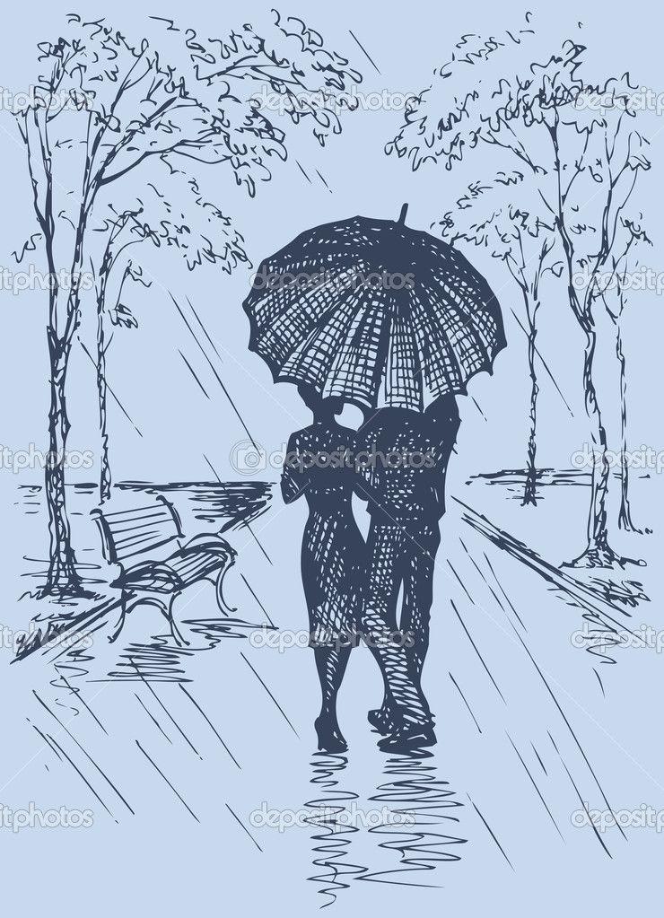 Escena Romántica De Vector Pareja Con Paraguas Caminando Por La Avenida Bajo La Lluvia Arte Blanco Producción Artística Dibujos De Arte Simples