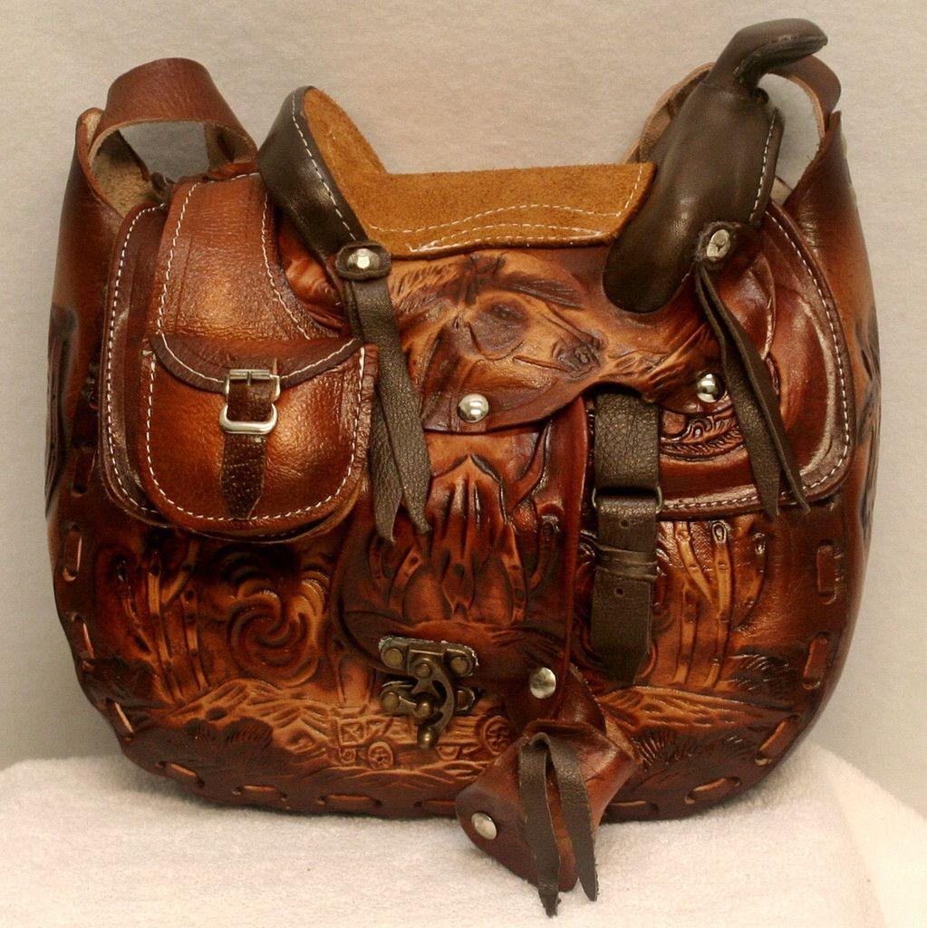 Leather Hand Tooled Saddle Purse Leather Purses Leather Purses
