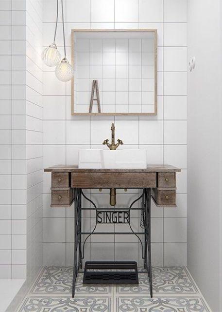 Singer Nähmaschine Stehen Als Bad Waschbecken Becken Ist Eine Einzigartige  Und Auffällige Idee