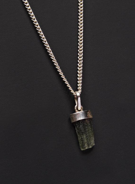Moldavite Silver Pendant Necklace