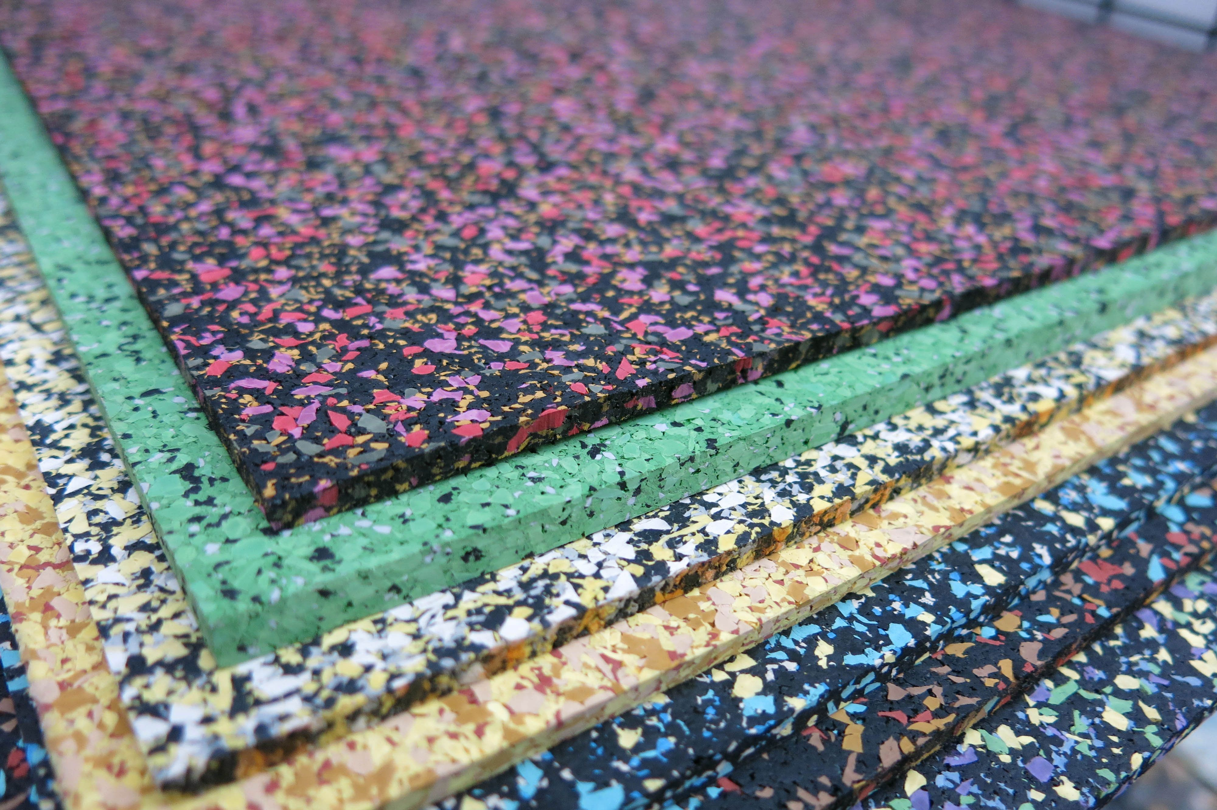 Colored Rubber Flooring To Soften/protect The Floor And Provide Support.  Weight Room Flooring