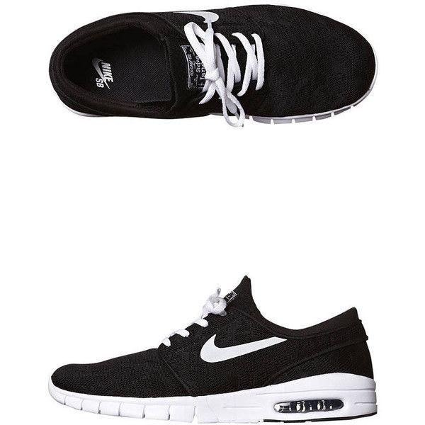 Nike Stefan Janoski Max Shoe -mc- Black ($125) ❤ liked on Polyvore featuring men's fashion, men's shoes, men's sneakers, black, footwear, mens footwear, sneakers, nike mens shoes, mens black sneakers and mens skate shoes