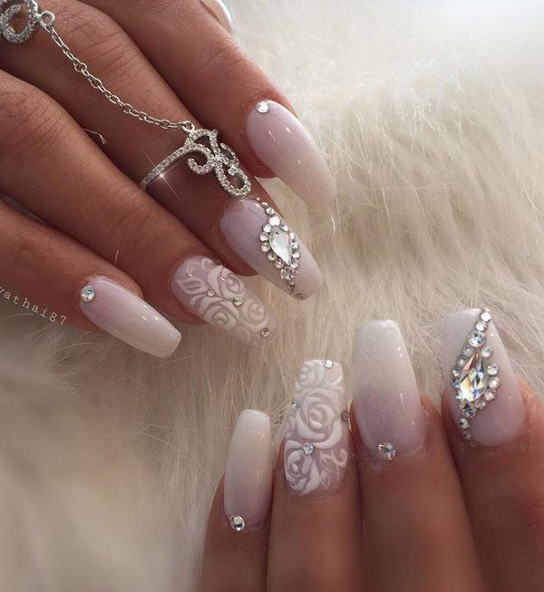 50 Rhinestone Nail Art Ideas Cuded Bride Nails Wedding Nails Design Wedding Gel Nails