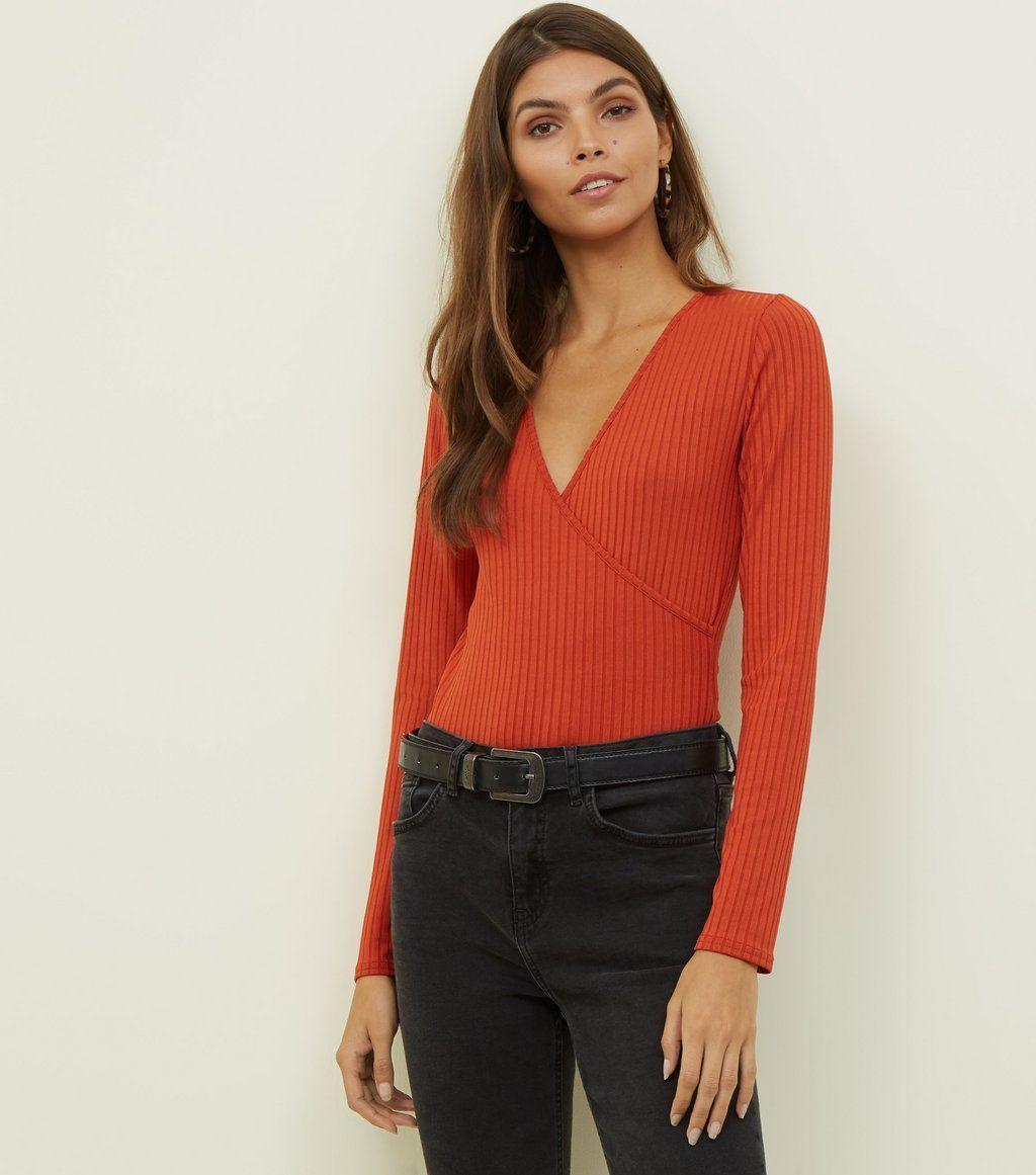 7c14c9dc68e2 Black Ribbed Long Sleeve Wrap Bodysuit | uni | Long sleeve, Fashion ...