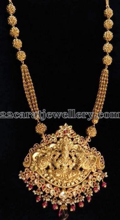 Jewellery Designs: Antique Long Mala with Lakshmi