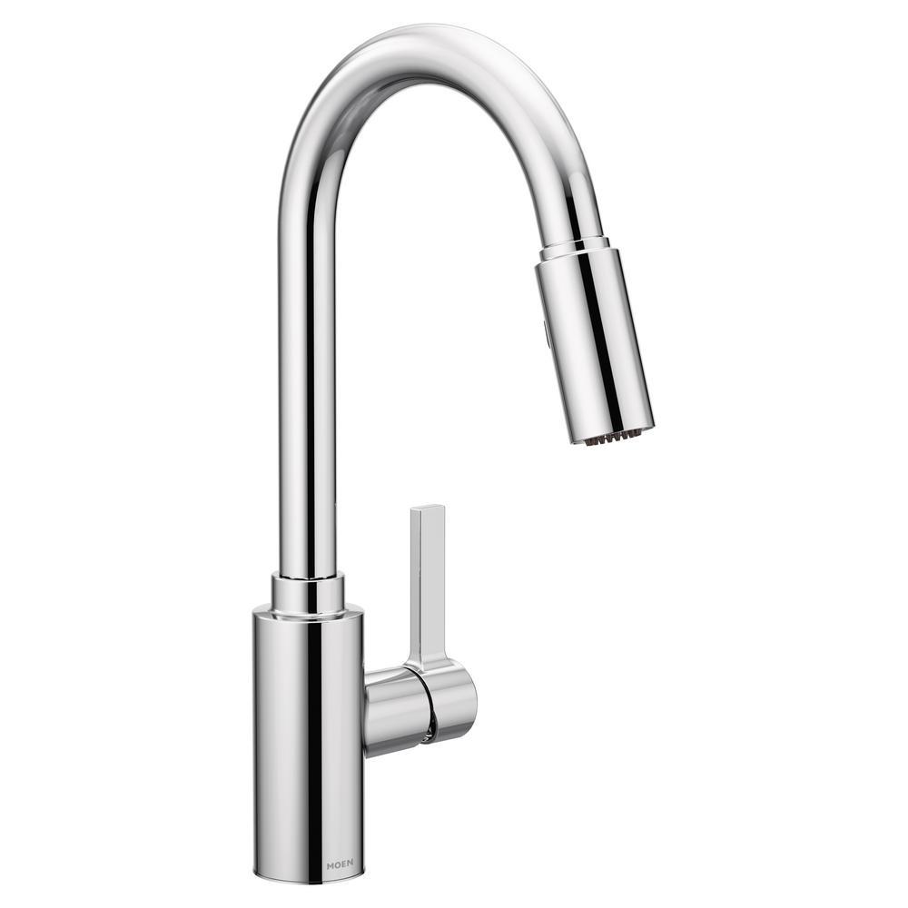 A Matte Black Kitchen Makes A Bold Statement In This: MOEN Genta Single-Handle Pull-Down Sprayer Kitchen Faucet