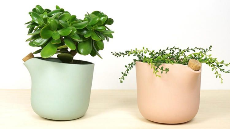 The Natural Balance planter tips back when it's time to re-water.