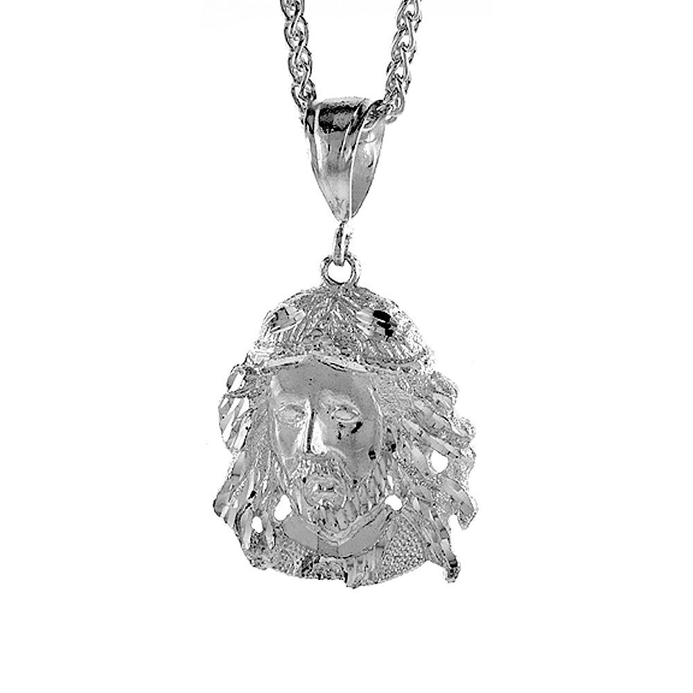 Sterling Silver Christ Pendant, 1 1/2 inch tall. Excellent qualiy finish and clear design. solid Sterling Silver.