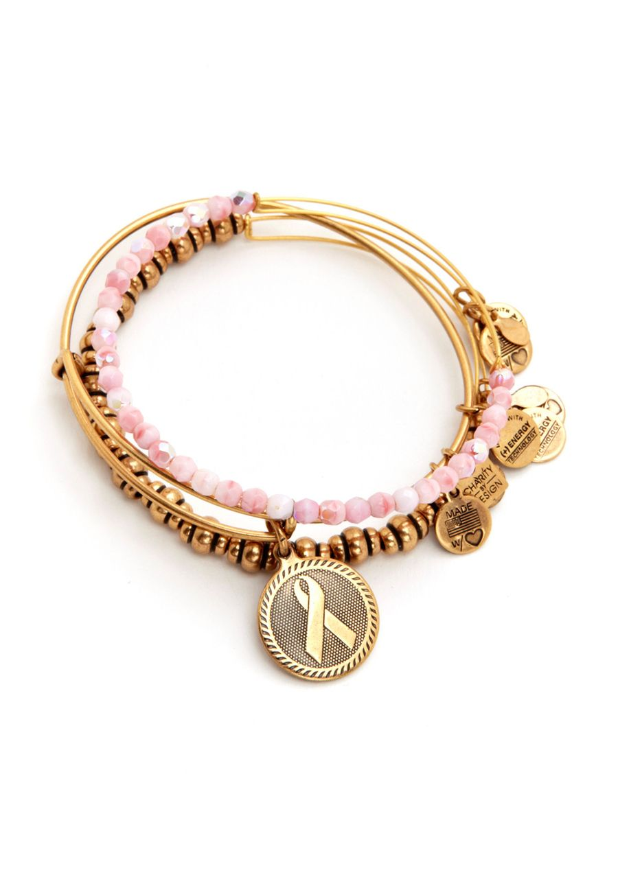 Alex Ani Pink Ribbon Charm Bracelet Set Of 3