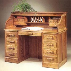 The Arts U0026 Crafts Home OAK ROLL TOP DESK A Solid Oak Roll Top Desk