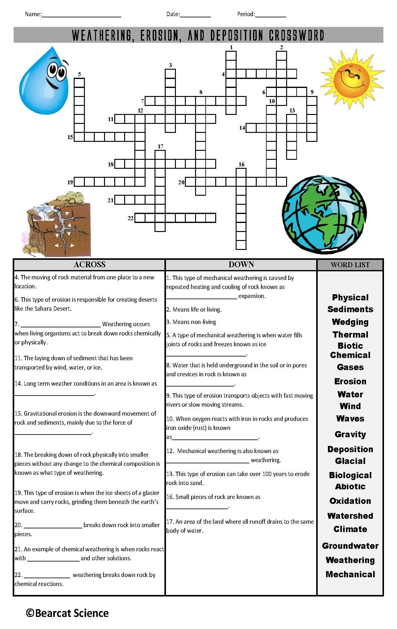 Weathering Erosion And Deposition Crossword Puzzle