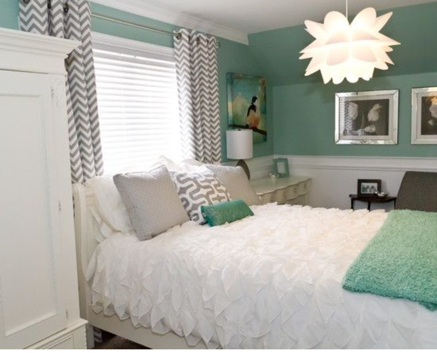 Very Pretty Modern Feminine Bedroom Love The Wall Color And Gray White Chevron Curtains Furniture Ruffled Comforter Awesome Light