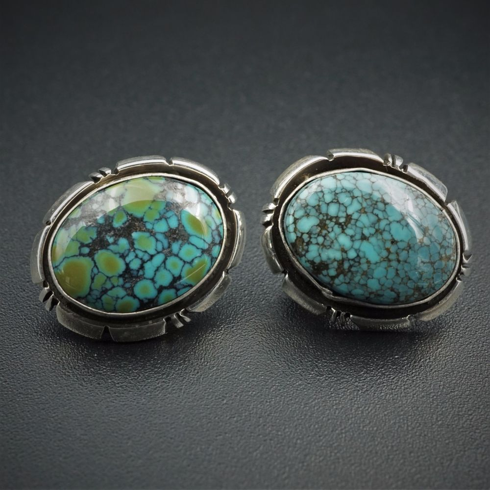 d82cfd804 Navajo L Spencer Sterling Silver Spiderweb Turquoise Shadowbox Earrings  ES1252 #LSpencer