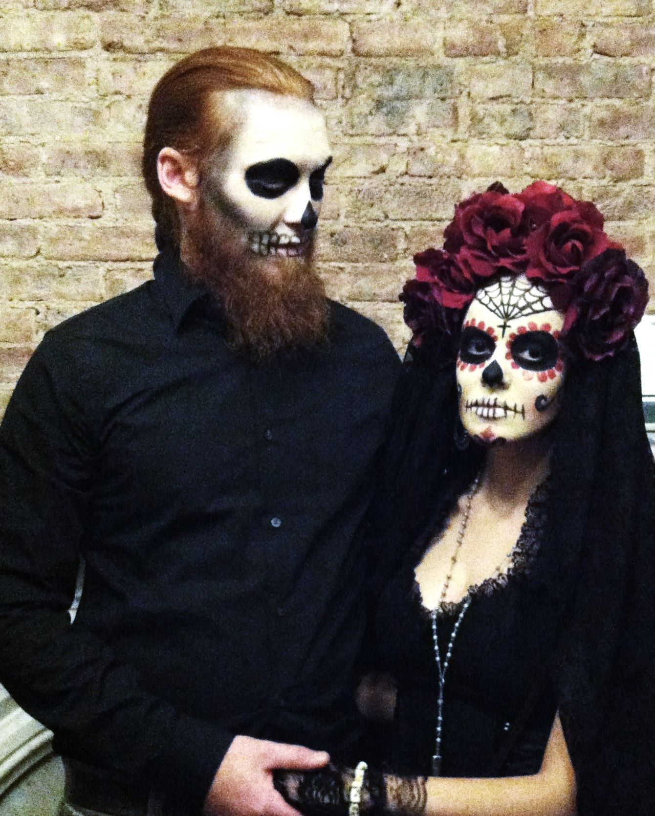 Day of the Dead couple It's basically just black, flowers