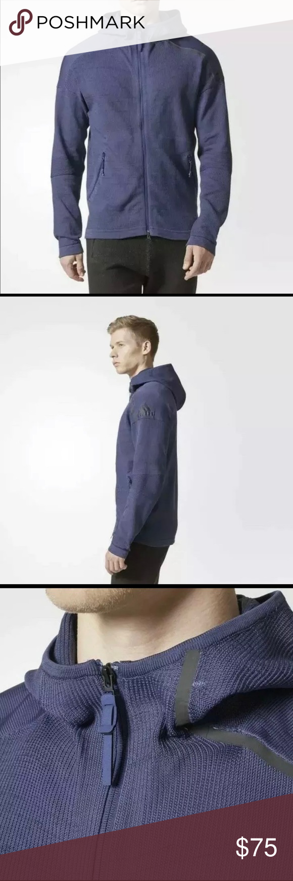 Men's Adidas ZNE 36H Primeknit Hoodie Navy CD6585 Men's