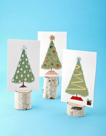 A sweet alternative to store-bought cards, these greetings put your tree-decorating skills to work — on a small scale. Download our illustration, and print in color onto 8 1/2- by 11-inch card stock. Fold the stock in half lengthwise, creasing with a bone folder. For the card at top left, attach small bugle beads and paillettes to the tree (use craft glue for all designs). To replicate the middle version, cut out ornaments (made by tracing a button), a tree base, and a star from patterned…