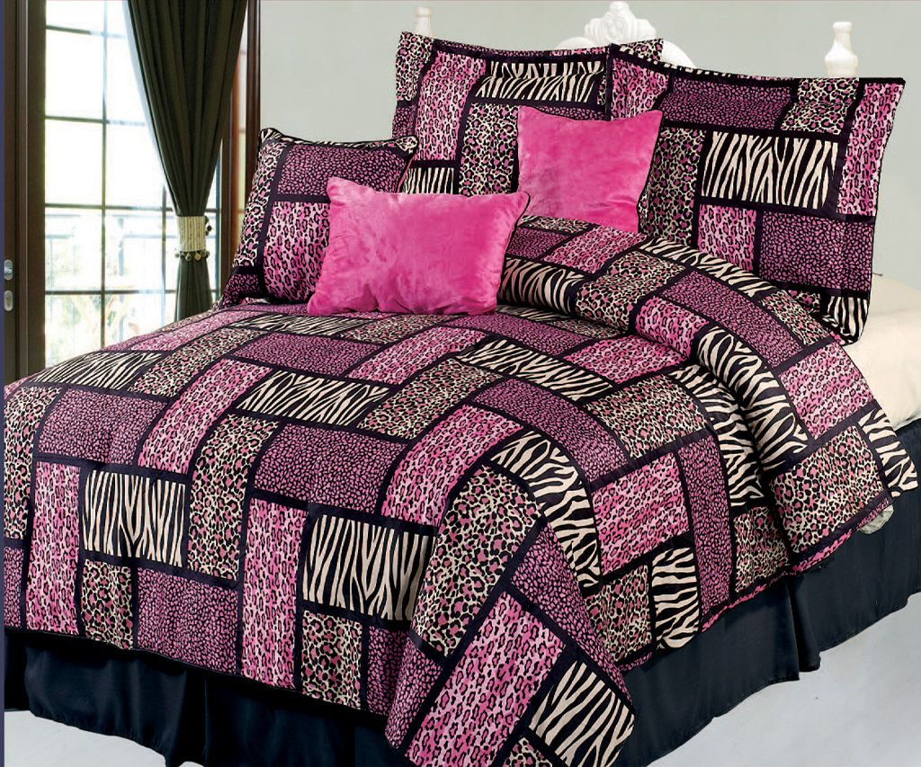 Black and pink bed sheets - 7 Piece Queen Safari Pink And Black Patchwork Micro Suede Comforter Set Fuchsia Bedding Set
