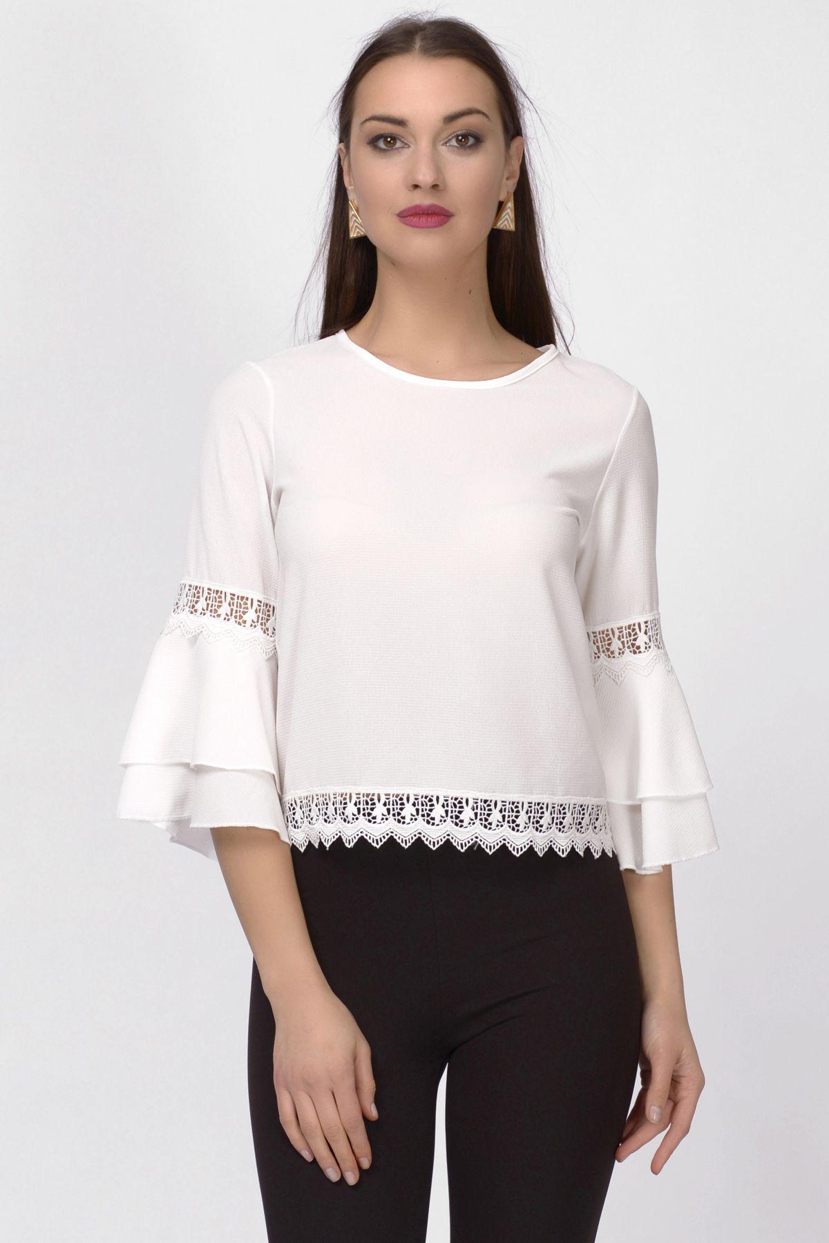 White Ruffle Cuff Elbow Sleeve Top Σχέδια Για Μπλούζες b7ff0db599e