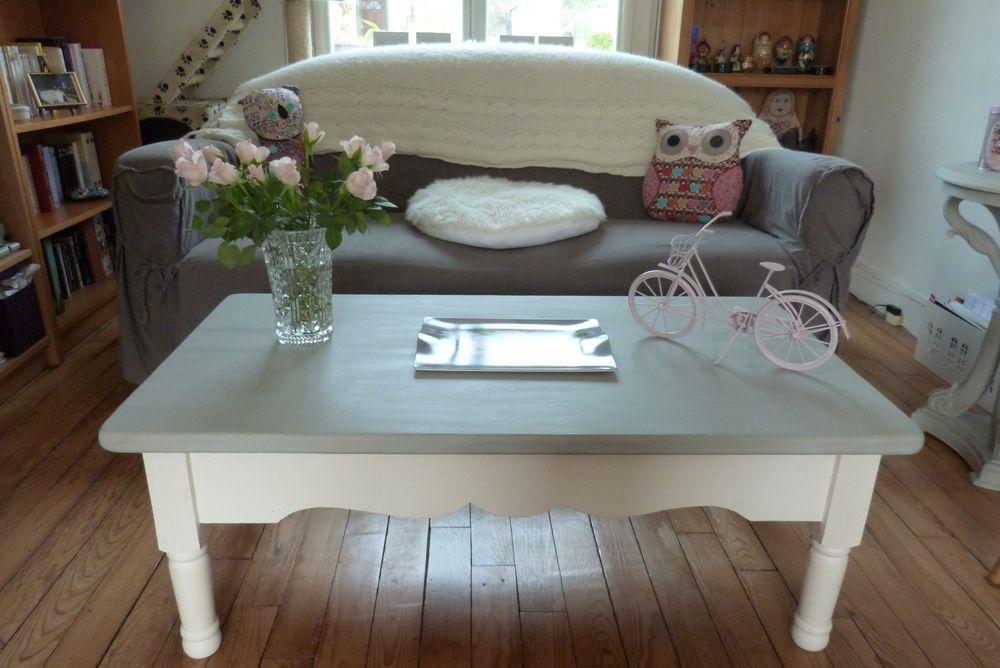 Table basse peinte avec la chalk paint d 39 annie sloan plateau en paris grey pieds en pure - Relooker une table de salon ...