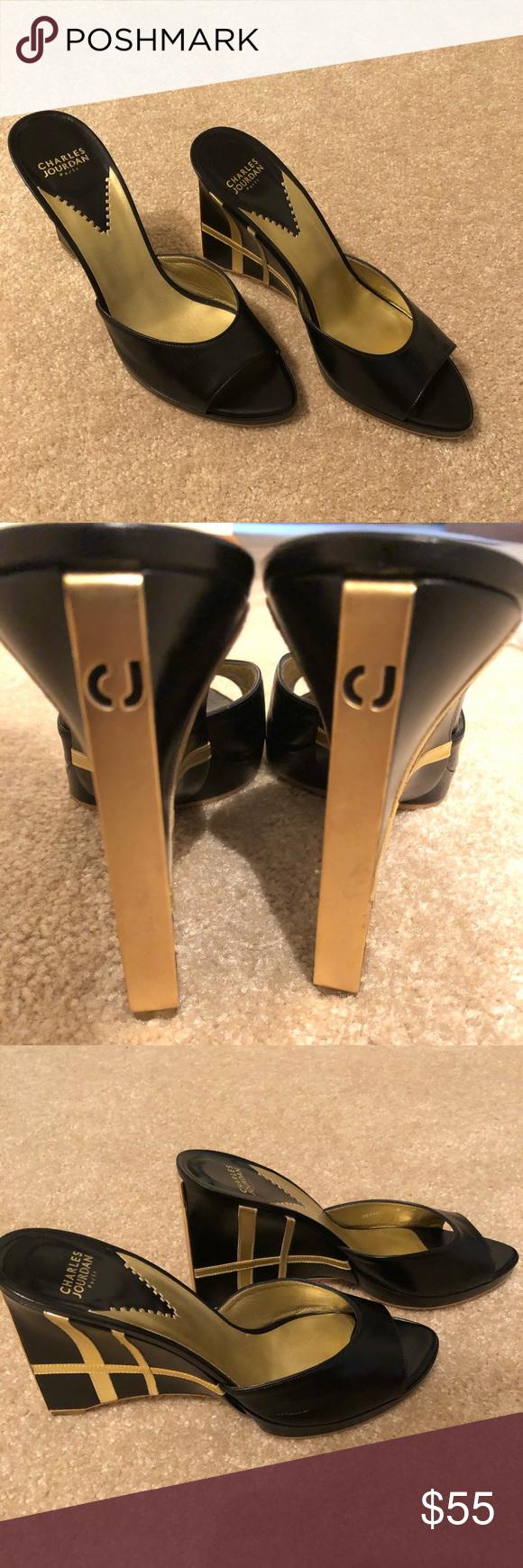 2ca58adb4 Peep toe wedge heel. Charles Jourdan. Paris. Black and gold peep toe wedge.  Narrow wedge heel. Size 9. Excellent condition. Charles Jourdan Shoes Wedges