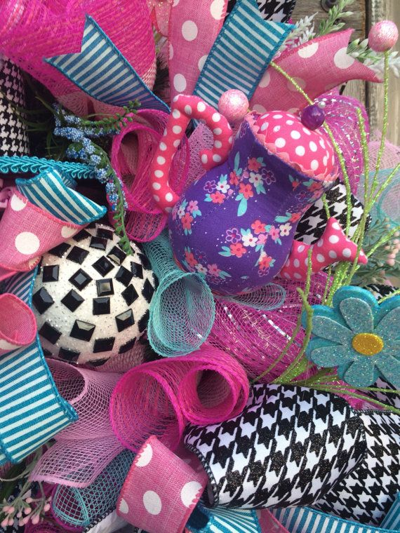 Easter Wreath Mad Hatter Bunny Top Hat Bunny by BaBamWreaths