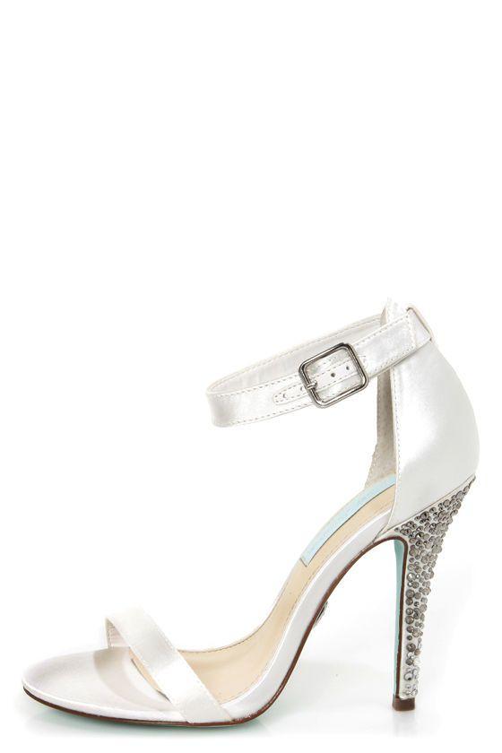 a0a7c1ce0 Betsey Johnson SB-Bells Ivory Satin Rhinestone Dress Sandals at Lulus.com!