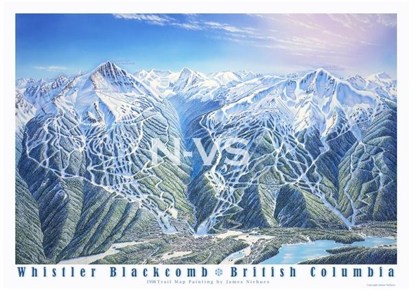 Whistler Blackcomb Bc Ski Trail Map Poster Cartography Map Painting World Map Art