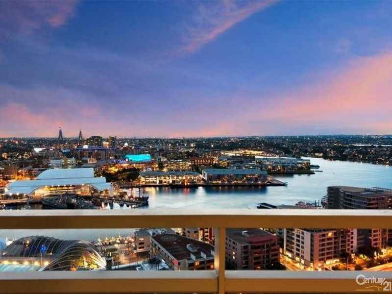 Evening view west Darling Harbour from Kent St Sydney Century21 City Quarter