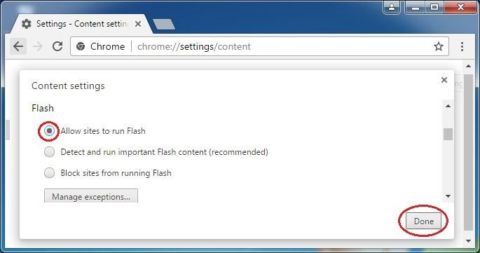 The Flash Section Of The Content Settings Screen Block Site Flash Chrome
