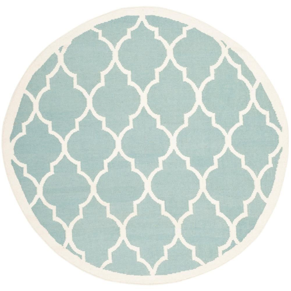 Safavieh Dhurries Light Blue Ivory 6 Ft X 6 Ft Round Area Rug