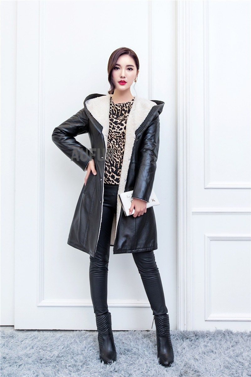 Discount! US 541.43 Winter Sheep Leather Jacket Women