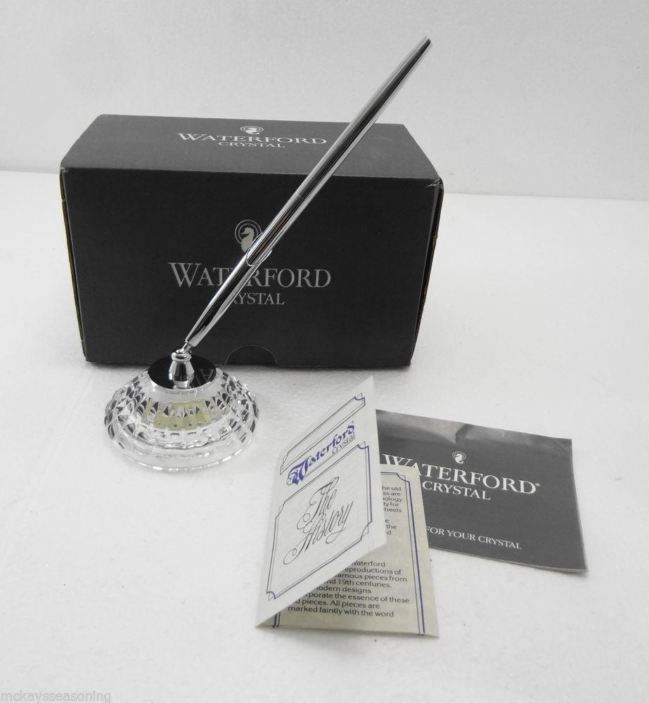 Waterford Crystal Bureau Pen Holder Silver Cross Pen with Box Signed ...