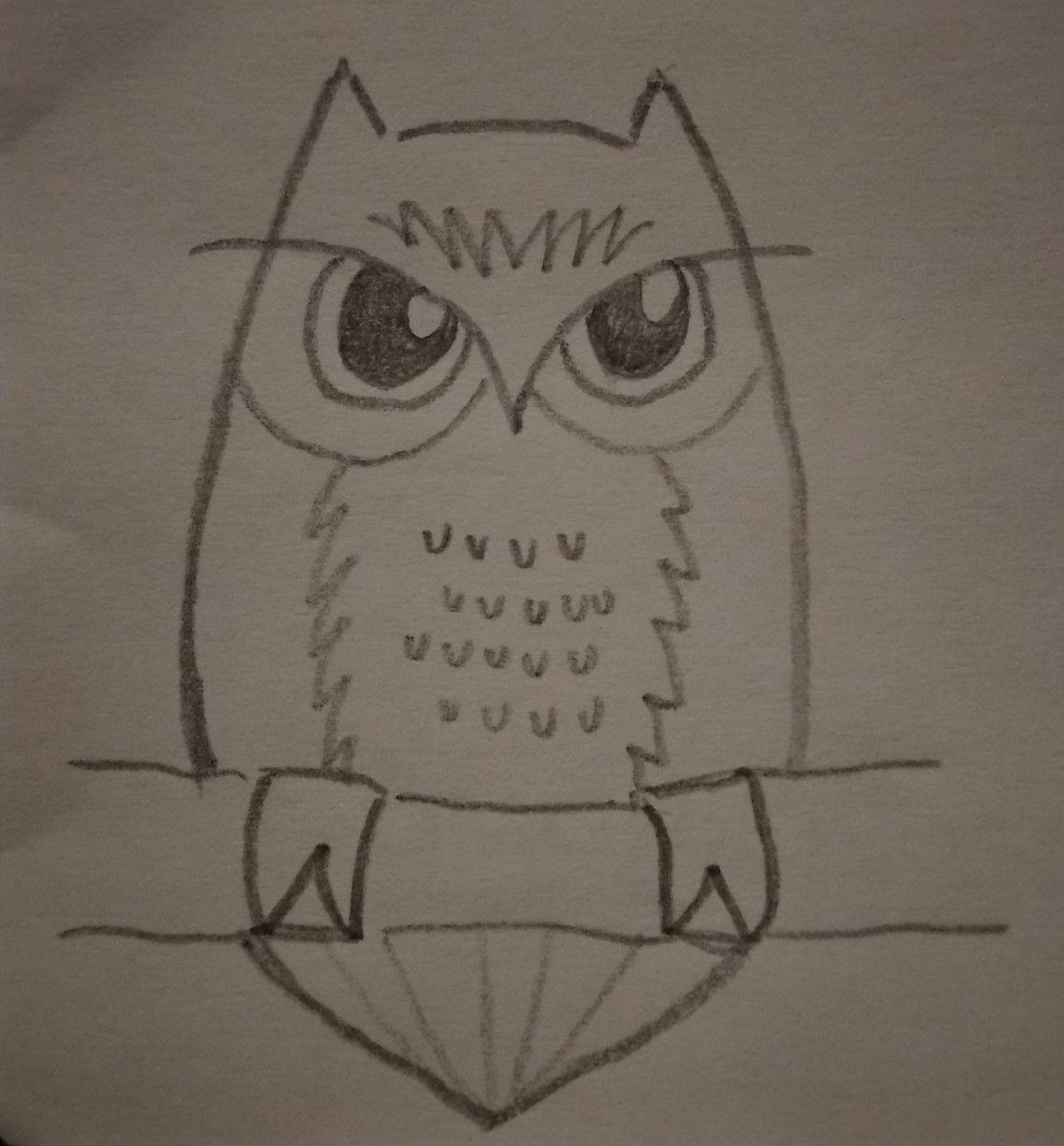 Simple owl drawing   Owl drawing simple, Art for kids hub, Owls ...