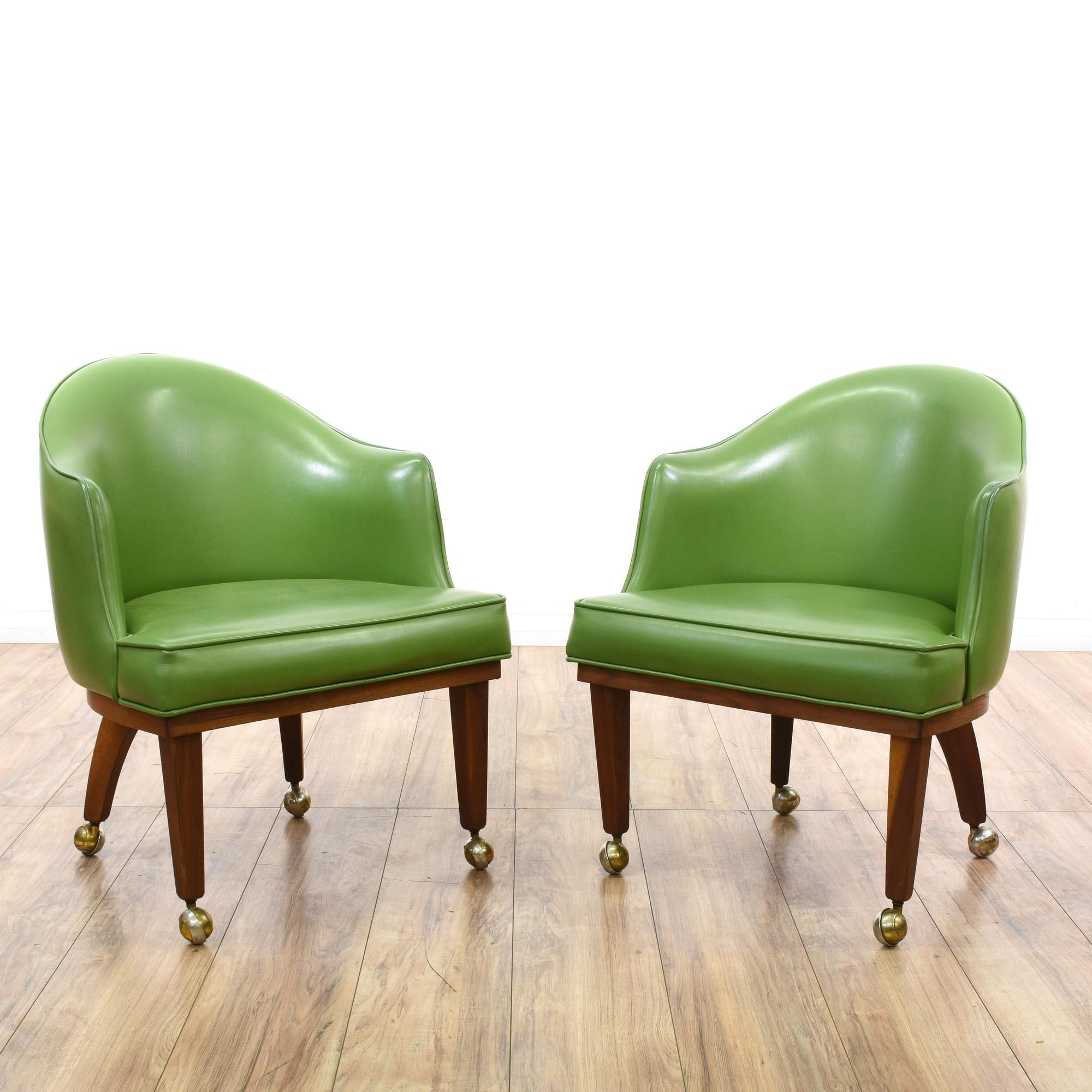 Upholstered Game Table Chairs - Pair of chet beardsley green vinyl chairs 2 game tablesaccent