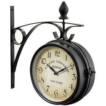 grand central station double sided new york decor clock black metal