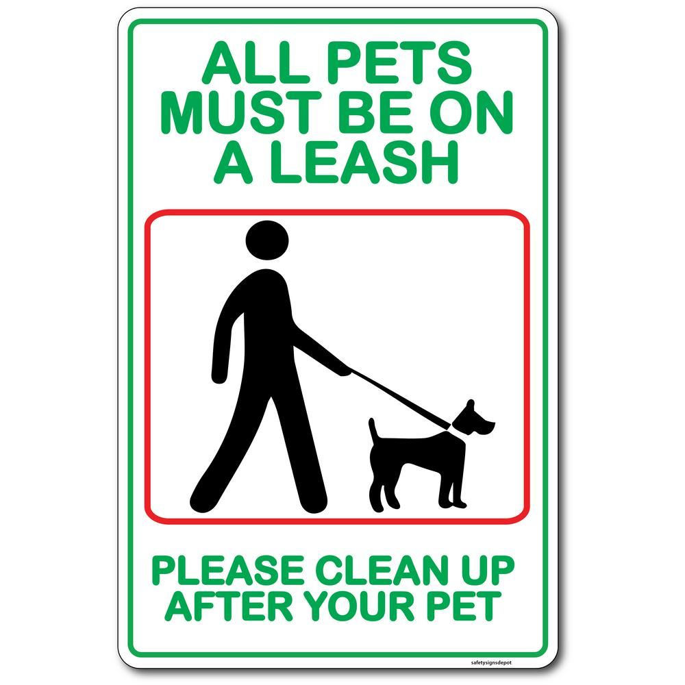 Promodor 12 In X 8 In All Dogs Pets Must Be On Leash Plastic