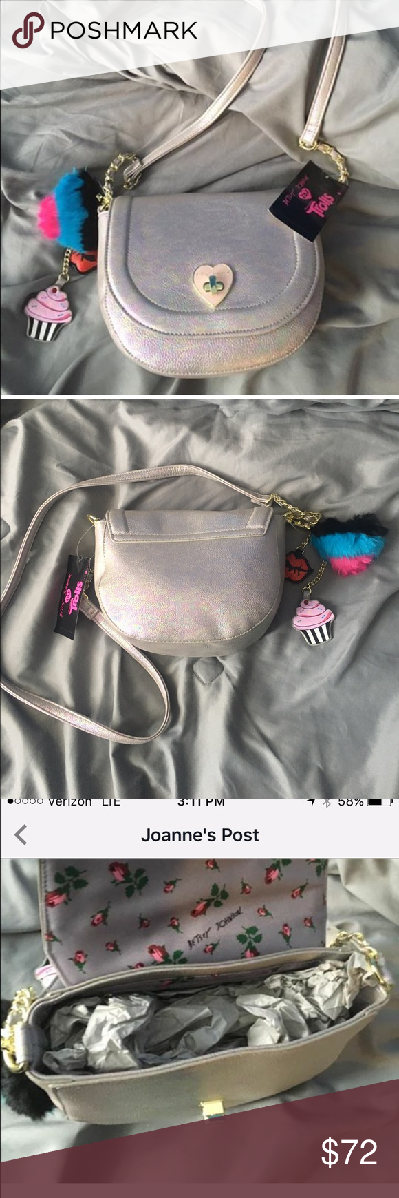 Betsey Johnson Trolls XOX Rainbow Crossbody.  NWT SO CUTE!  Betsey Johnson Rainbow Crossbody - Trolls XOX Collection.  Brand new with tags!😍😍 Betsey Johnson Bags Crossbody Bags