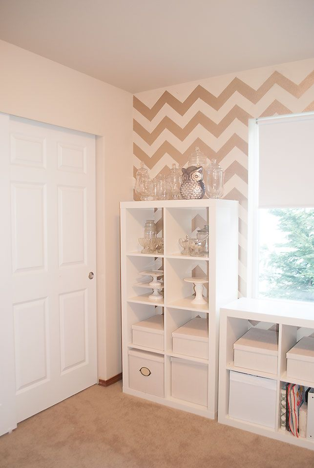 exceptional Martha Stewart Vintage Gold Paint Part - 17: Craft Room Makeover Chevron Wall with Martha Stewart Vintage Gold Paint