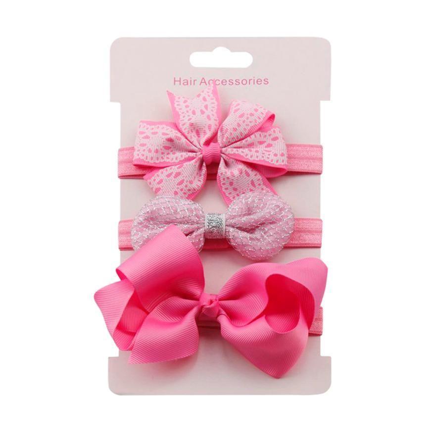3pcs//Set Baby Girl Headband Ribbon Elastic Headdress Kids Newborn Hair Band Bow