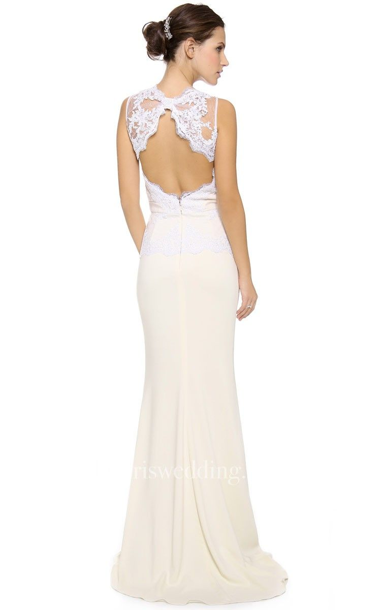Long lowv neckline sheath satin dress with keyhole back in