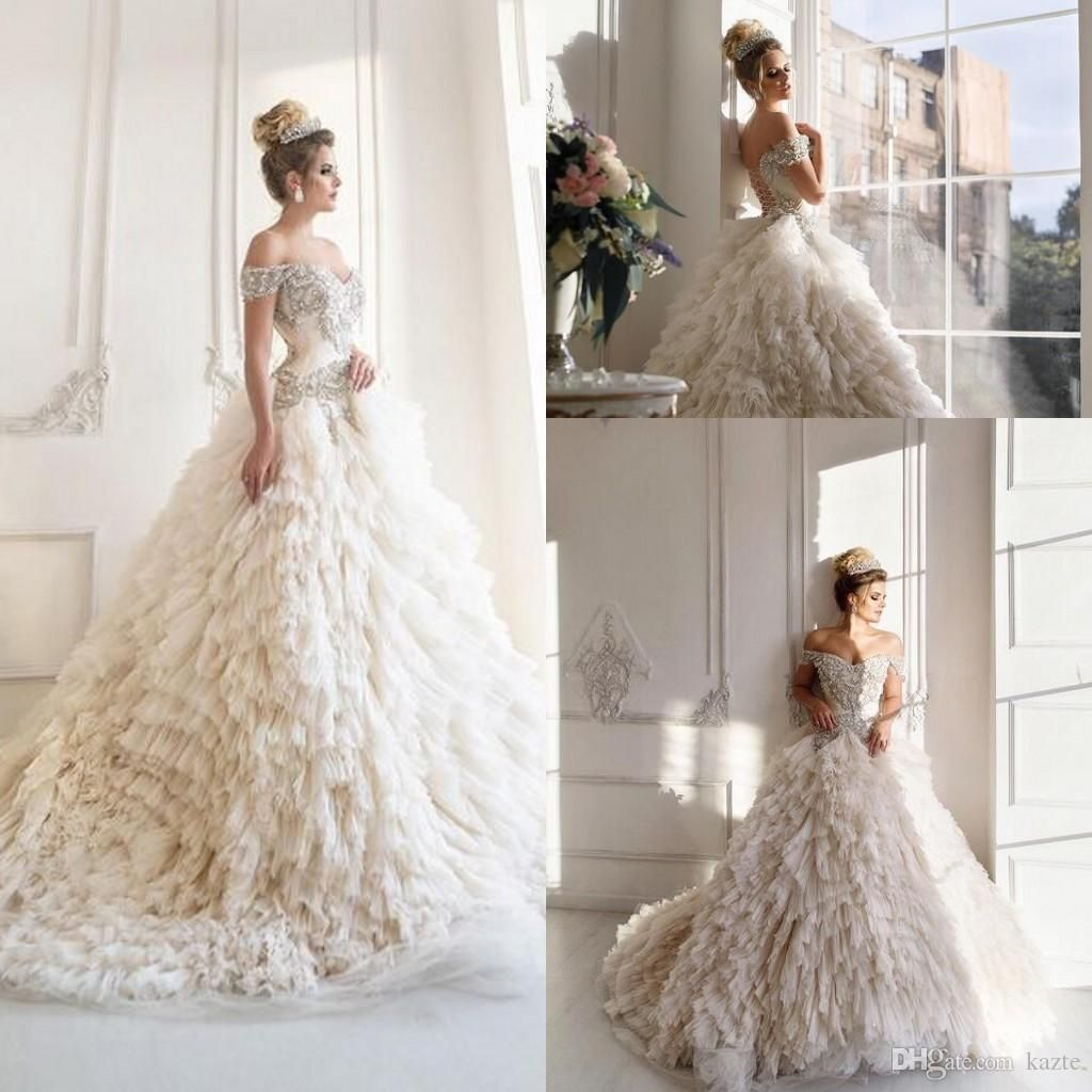 Malyarovaolga Luxury Sparkly Corset Princess Wedding Dresses 2018 Dubai  Arabic Off Shoulder Tiered Cathedral Train Church Wedding Gowns Wedding Gown  Mermaid ... 8329d46af186