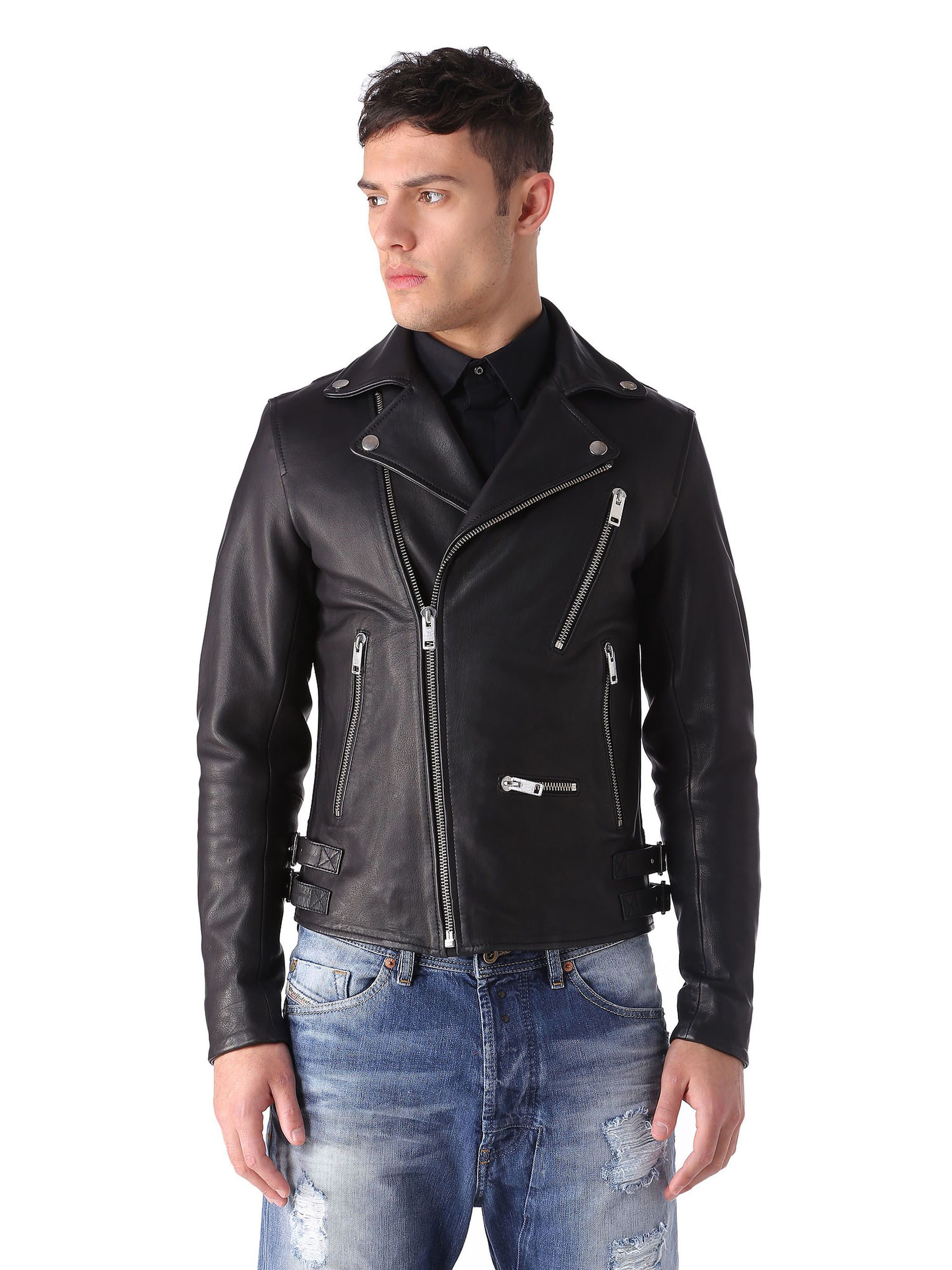 Diesel L-GIBSON-1 Leather Jacket in Black Color from Diesel Online Store #
