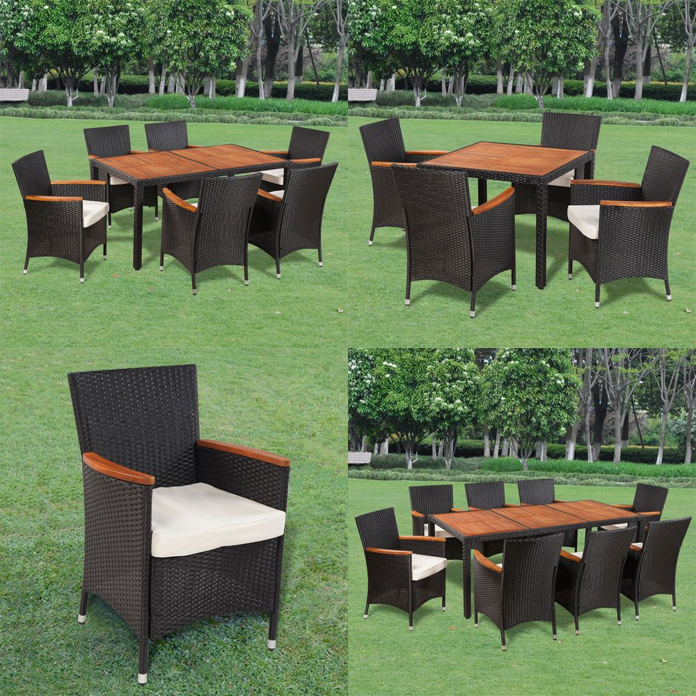 details zu poly rattan gartenm bel gartengarnitur holz sitzgruppe essgruppe tisch st hle. Black Bedroom Furniture Sets. Home Design Ideas